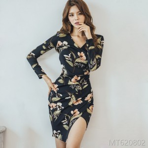 2008 Autumn Dress New Korean Version Mingyuan Temperament V-neck Slimming and Receiving Waist Fashion Printed Bag Hip Dress