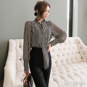 2008 New Korean Style Stripe Shirt Slim Pants Suit