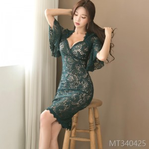 2008 new Korean version of Mingyuan temperament V-neck slender Bell Sleeve stitching lace lace wrapped hip dress