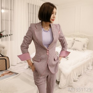 Fall and Winter 2018 New Korean Edition Temperament Matchwork Checker Suit, Fashion Women's Trousers Professional Suit