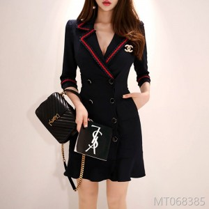 Autumn 2008 new Korean OL style double-row button slim-up patchwork suit collar and hip dress