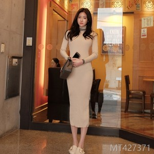 Fall and Winter 2018 New Korean Knitting Temperament High-collar Slimming Long Buttock-wrapped Dress