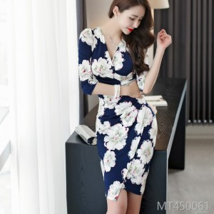 2008 Autumn Dress New Korean Version Mingyuan Temperament V-collar Drape and Body-building Printed Buttock Dress