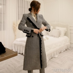2008 Autumn and Winter Korean Edition Temperament Double-breasted Chicken Plaid Wool Overcoat, Fashion Women's Trousers Suit