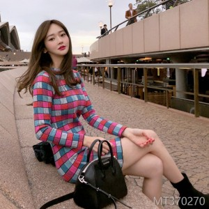2008 autumn dress new Korean version women's dress temperament self-cultivation color jacquard knitted sweater bottom dress