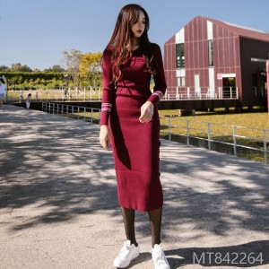 Fall and Winter 2018 New Korean Edition Knitted Long-style Button-wrapped Temperament Bottom Dress