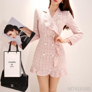 2008 Korean version temperament double-breasted suit collar lotus leaf trim woolen fragrance jacket