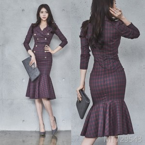 2008 Autumn Dress New Korean OL Temperament Two-piece Suspender Skirt Double-row Button Jacket Dress