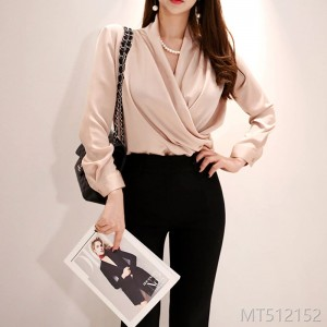 2008 autumn dress new Korean version temperament V-collar pleated shirt jacket waist-closing fashion nailed pearl trousers suit