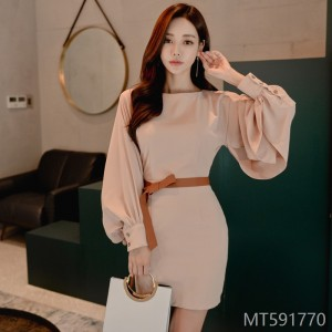 2008 Autumn Fashion New Korean Edition Temperament Mingyuan Sleeve Lace Button Fashion Dress