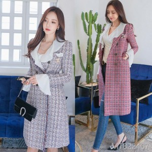 2008 Autumn and Winter New Korean Edition Temperament Double-row Button Slim Stitching Lotus Leaf Edge Wool Overcoat