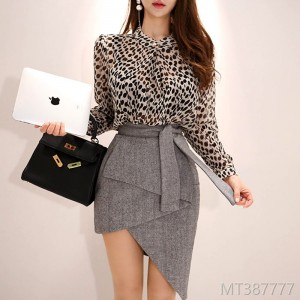 2008 autumn dress new Korean version temperament wave shirt jacket fashion irregular buttock skirt suit women