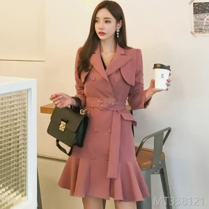 2008 Autumn and Winter New Korean Style Double-row Button Slim Lotus Leaf Edge Dress Suit