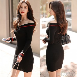 2008 Korean version temperament V-collar stitching striped knitted slim rabbit velvet dress woman