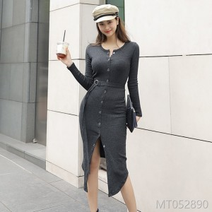 Autumn and Winter 2018 New Korean Edition Medium-and Long-style Slimming and Opening Fashion Button Knitted Dresses