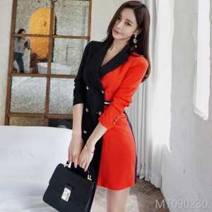 2008 Autumn and Winter New Korean OL Temperament, Body-building, Pair-color Double-row Button Professional Suit Jacket