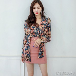 2008 New Korean Printed Shirt Blouse Fashion Slim Pack Hip Skirt Suit