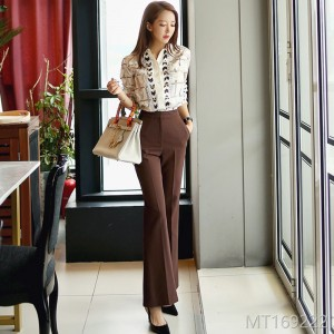 Fall and Winter 2018 New Korean OL Temperament Printed Shirt Blouse Fashionable Closed Professional Women's Trousers Suit