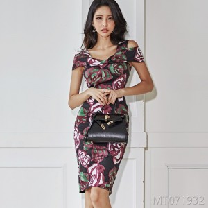 2018 Butterfly-tie Suspender Slim Printed Hip Dress Fashion Bottom Skirt