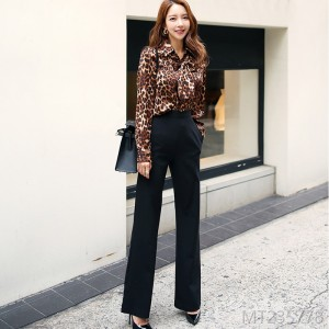 2008 Autumn and Winter New Korean OL Temperament Leopard Ribbon Shirt + Fashion Closed Professional Women's Trousers Suit