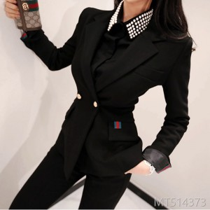 Fall and Winter 2018 New Korean Style Double-breasted Suit Jacket Fashion Slim Pants Professional Suit