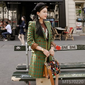 2008 Autumn and Winter New Korean OL Temperament, Self-cultivation, Double-row Button, Color Checker Fashion Suit