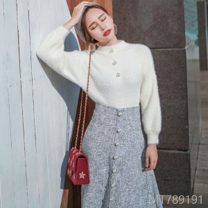 2008 new autumn and winter knitted sweater Korean version foam sleeve jacket, grey Retro High Waist Dress Suit