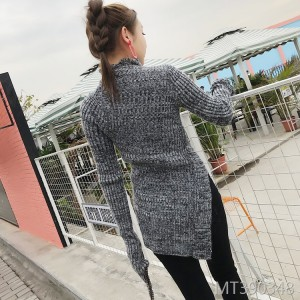 2018OL temperament high collar open fork irregular knitted slim sweater bottom jacket