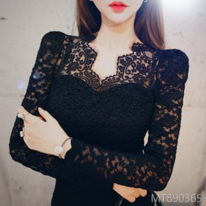 2008 Autumn and Winter New Korean Edition Mingyuan Temperament Lace Neck Slimming Lace Buttock Dress