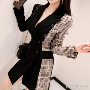 2018OL temperament double-breasted color checked suit jacket
