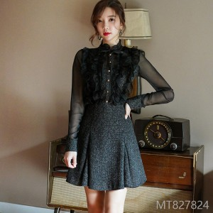 2008 New Korean OL Temperament Spliced Lace Shirt Short Skirt Suit