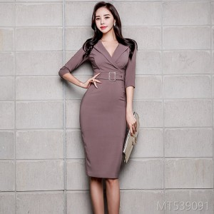 2008 Autumn Dresses New Korean Women's OL Temperament V-collar Fashion Professional Buttock-and-Waist Dresses