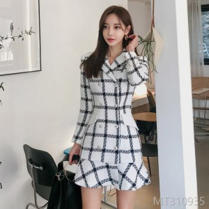 2008 Winter Dress New Korean Double-row Button Slim Lattice Lotus Leaf Fashion Suit Neckle Wool Coat