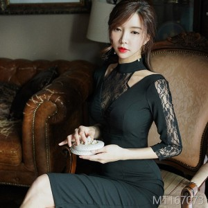 2008 new Korean version of Mingyuan temperament neck stitching lace self-cultivation package hip dress