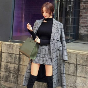 2018 Three-piece Slim Wool Checker Overcoat, Hip Skirt, Bottom Shirt Suit