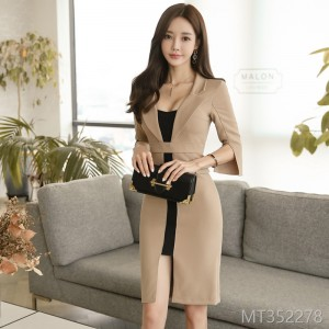 2008 New Korean OL Temperament, Body-building and Colour-matching Suit Neckle, Long and Medium-length Open-forked Button Dress