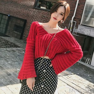 2018V Neckle Horn Sleeve Knitted Sweater Fashionable Buttock Point Fishtail Skirt Suit