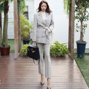 2008 waistband suit, jacket, checked slim trousers, woolen suit
