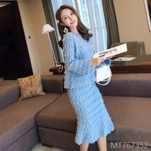 2008 winter new Korean version temperament heavy industry two-piece petal sleeve fashionable Mermaid sweater suit