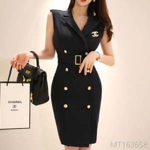 2008 Summer Dress New Korean OL Temperament Double-row Button Suit Neck Slimming, Waist-pocket Hip Dress