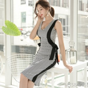 2008 Summer Dress New Korean Style V-collar Stitching Butterfly Knot Medium-length Buttock-wrapped Dress