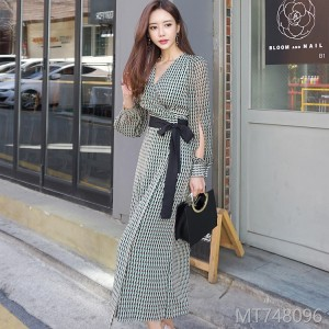 2008 Summer Dress New Korean Style V-tie Received Waist Long Sleeve Sunscreen Skirt Fashion Dress