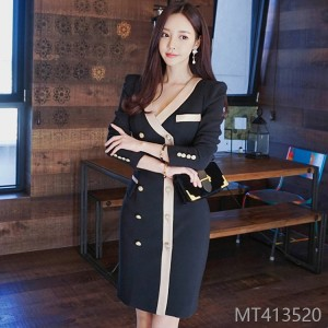 201OL temperament V-collar double-breasted stitching mid-long slim waist suit dress