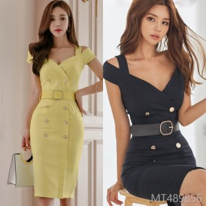2008 Summer Dress New Korean OL Temperament V-collar Double-row Button Slimming Fashion Button Dress