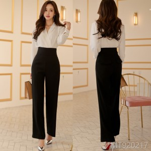 Fall 2008 new Korean version temperament V-neck jacket fashion high waist broad-legged pants professional trousers suit women