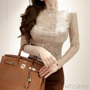 2018 temperament lace hollow lace collar short jacket fashion self-cultivation bottom shirt