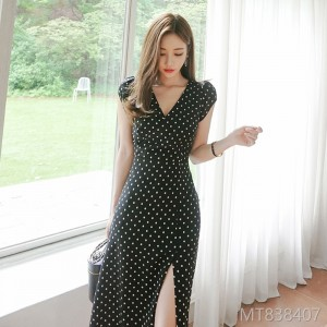 2008 Summer Dress New Korean Style V-neck Slimming Wave Point Opening and Receiving Mid-long Fashion Dresses