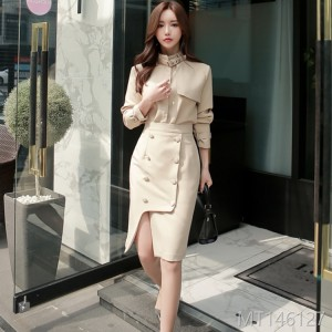 2008 Autumn and Winter New Korean OL Style Upright Collar Blouse, Slim Double-row Button Button Half-length Skirt Suit
