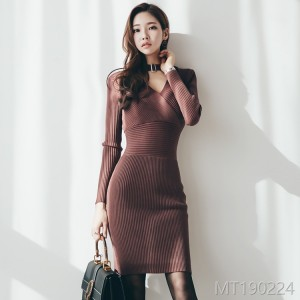 2008 Necklace V-neck knitted slim waistband hip dress with bottom skirt
