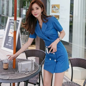2008 Summer Dress New Korean OL Temperament Double-breasted Suit Collar Slimming Pack Hip Outerwear Dress